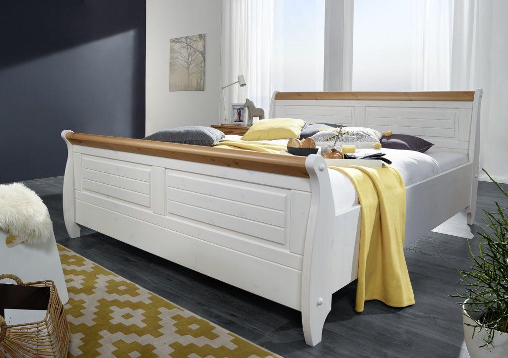 Doppelbett im Landhausstil mit Bettkasten massiv weiß