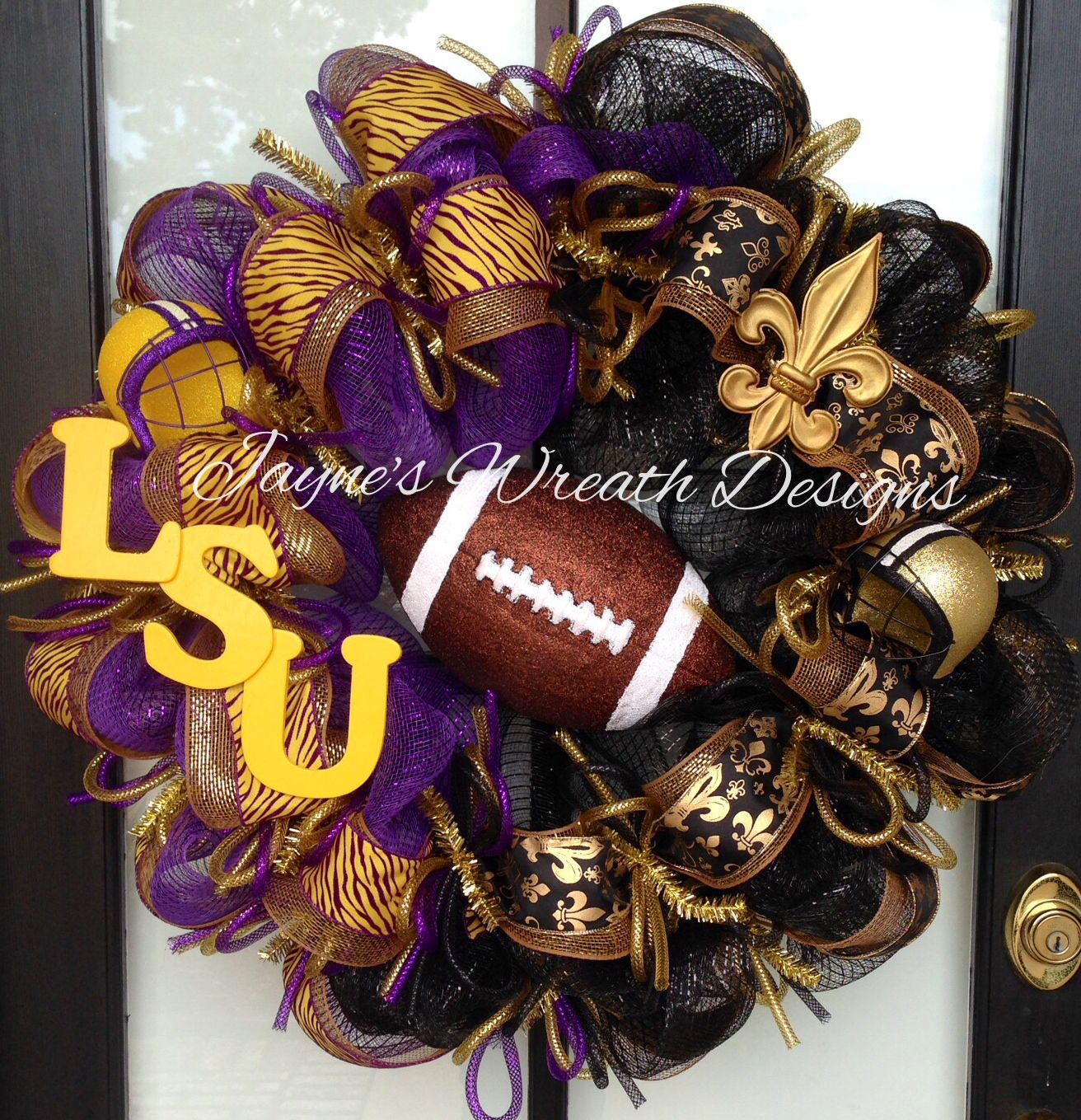 LSU/ Saints Combo Football Wreath with helmets, Fleur de Lis, football, and LSU letters