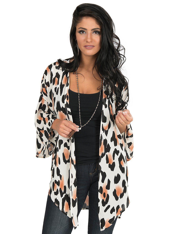 Peach Love White Leopard Print 3/4 Bell Sleeve Kimono | Cavender's ...