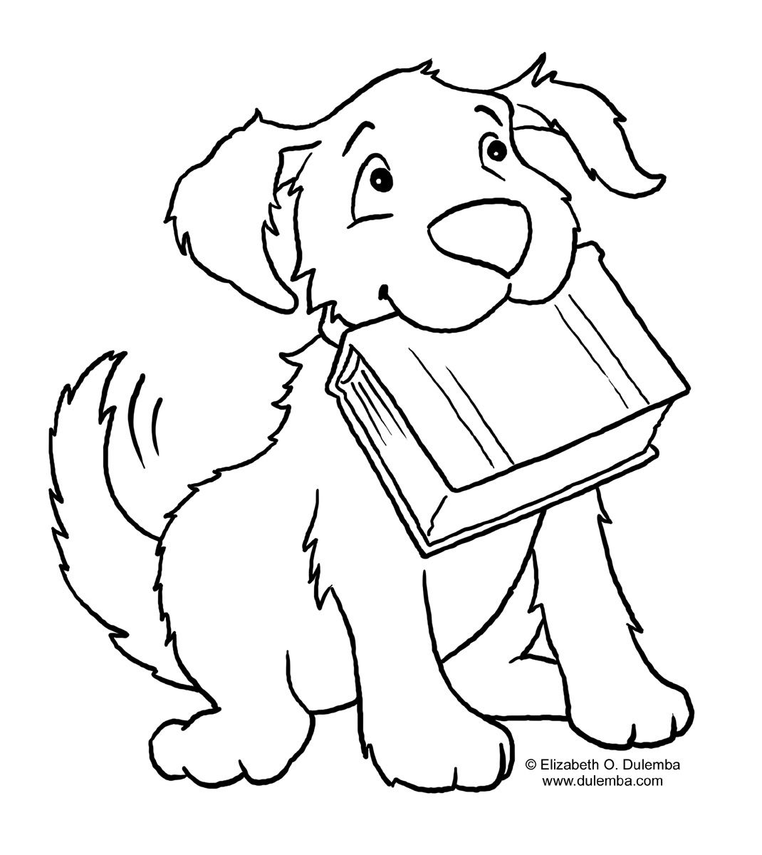 Dog And Book Animal Coloring Pages Dog Coloring Page Easy Coloring Pages