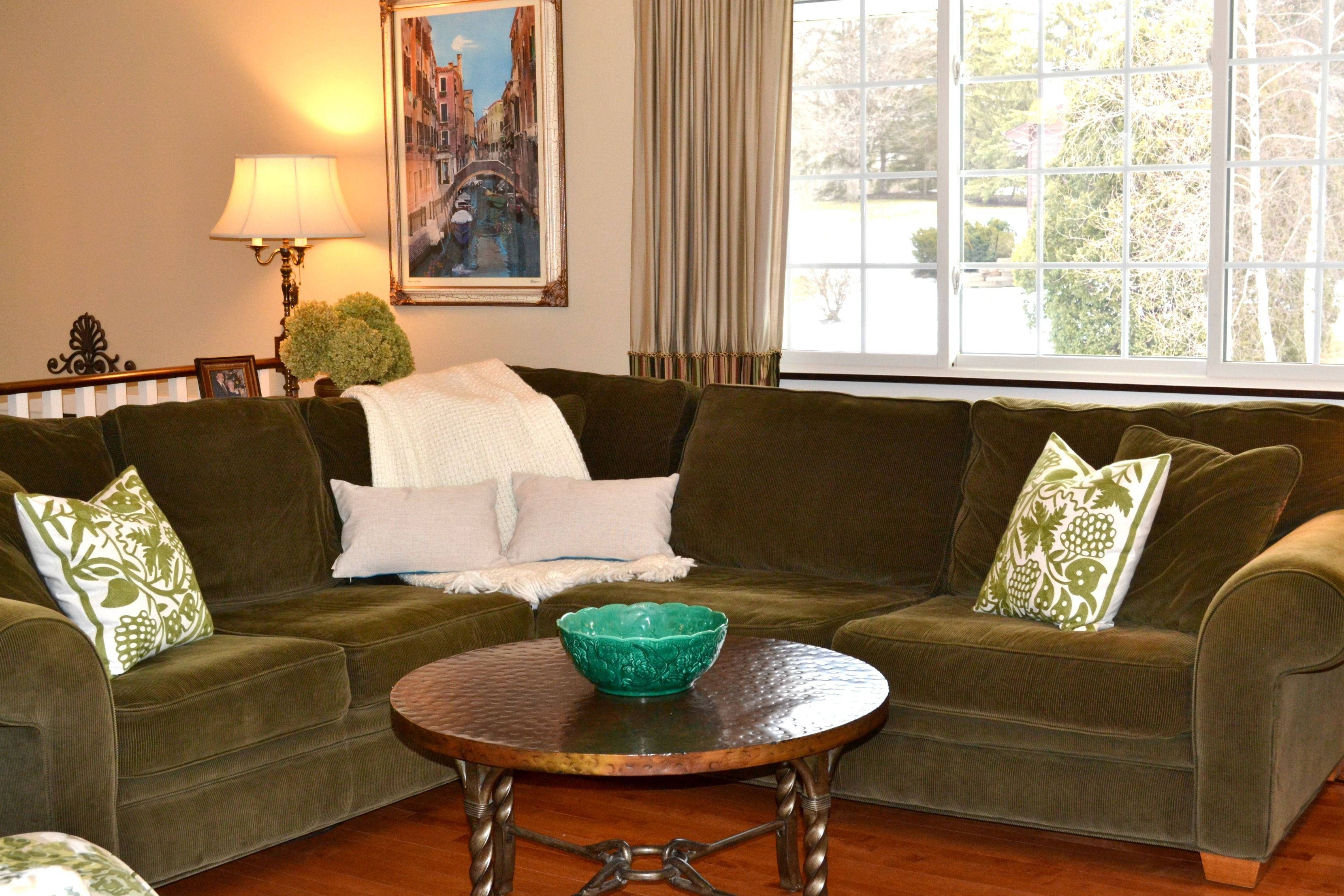 Living Room redesign by Linen & Twine Home Staging.