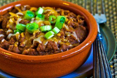 Recipe for Pressure Cooker Refried Beans with Onion, Garlic, and Green Chiles [from Kalyn's Kitchen]