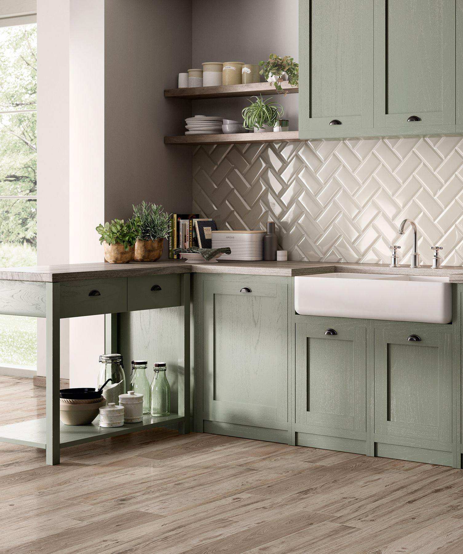 Farm House Chic Sage Green Kitchen With Wood Look Porcelain Floor And Bevelled Subway Tiles Kitchen Decor Inspiration Kitchen Interior Home Decor Kitchen