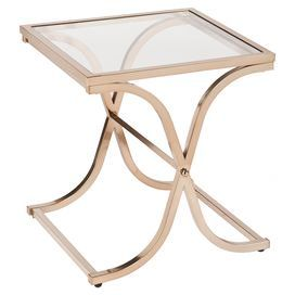 """End table with a curving metal base and tempered glass top.   Product: End tableConstruction Material: Metal and tempered glassColor: Champagne brassFeatures:  X-brace legs with beautiful mirrored appearanceGlass top Dimensions: 24"""" H x 22"""" W x 22"""" D"""