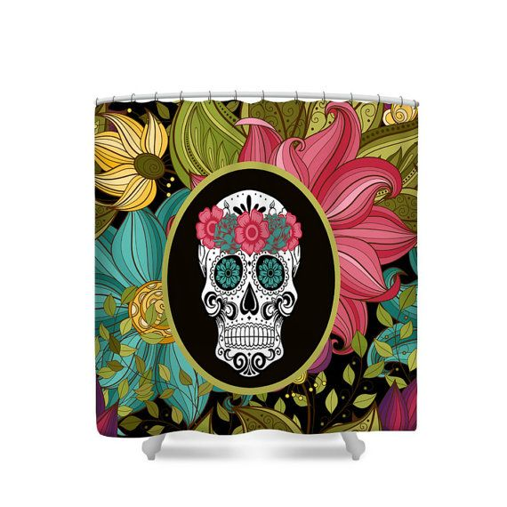 Sugar Skull Shower Curtain Tropical Floral By FolkandFunky On Etsy