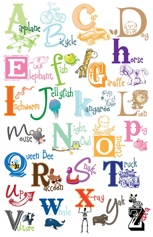 ABC Alphabet Poster Classroom Preschool Kids Girl Educational Wall Charts