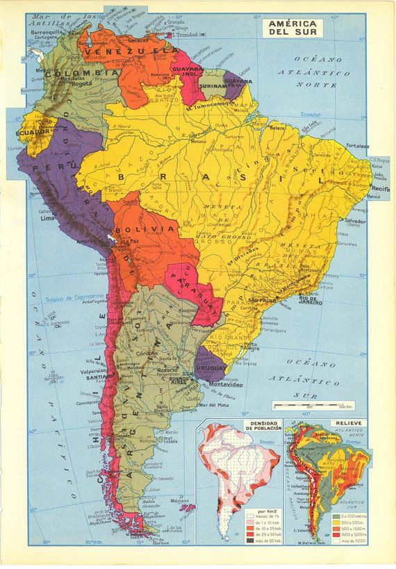 Vintage Map of South America, 1950s Political Division ...