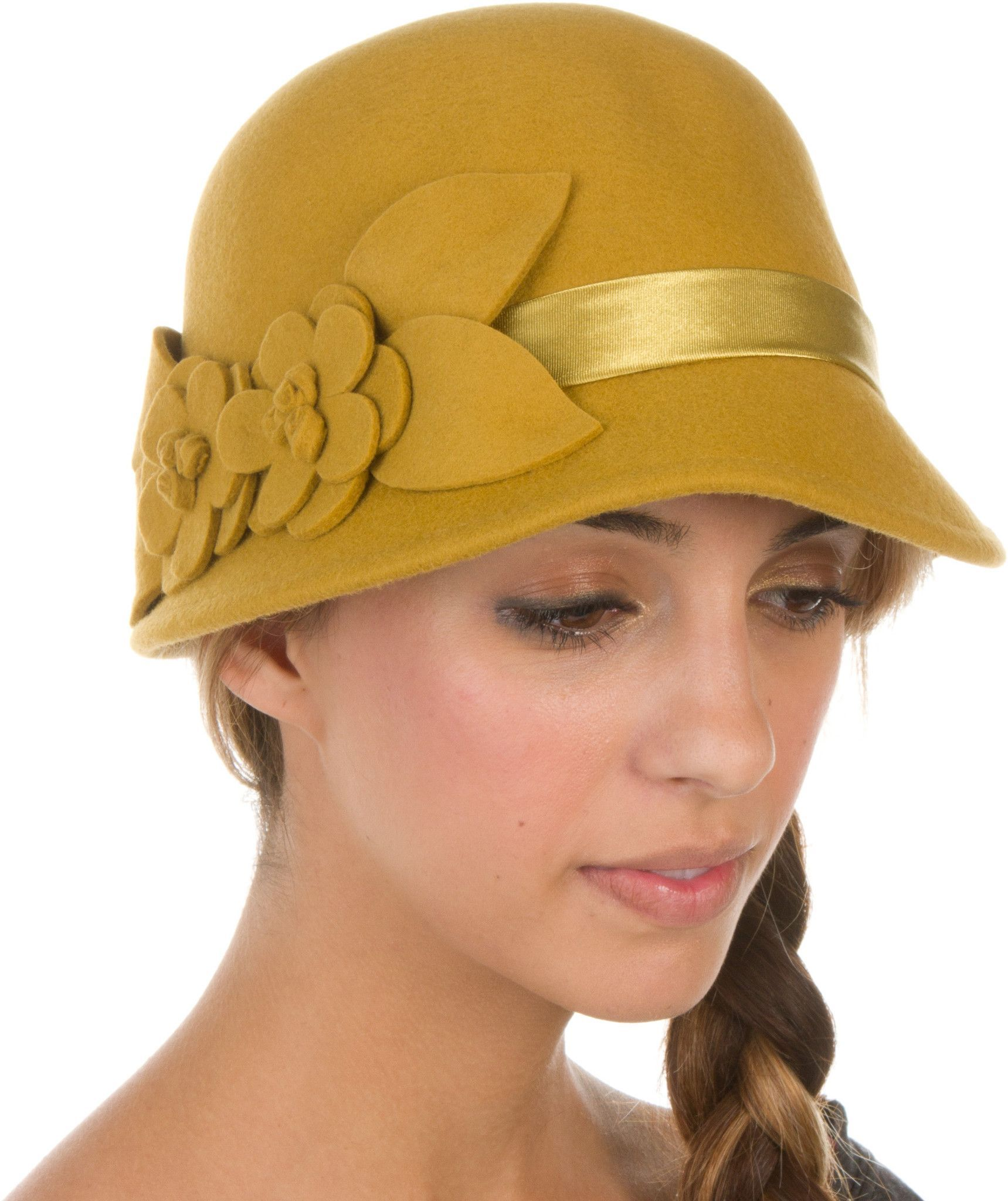Sakkas Vivian Vintage Style 100% Wool Cloche Bell Hat with Flower Accent 26f2a68935c1