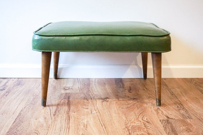 Groovy Olive Green Vintage Mid Century Modern Leather Ottoman
