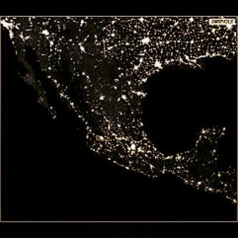 Mexico de noche satelital