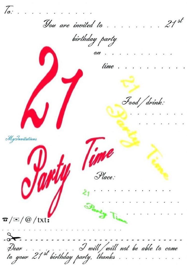 21st Birthday Invitations Templates Free Invitation Cards Ideas