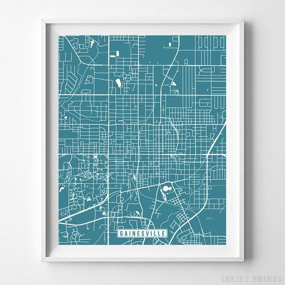 Gainesville, Florida, Map Print, Street Poster, City Road