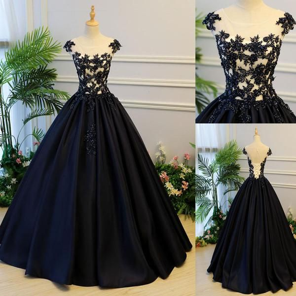 f98181a692 Black Round Neck Satin Long Top Lace and Beaded Prom Dresses, Evening  Dresses, Formal Prom Gowns, PD0746