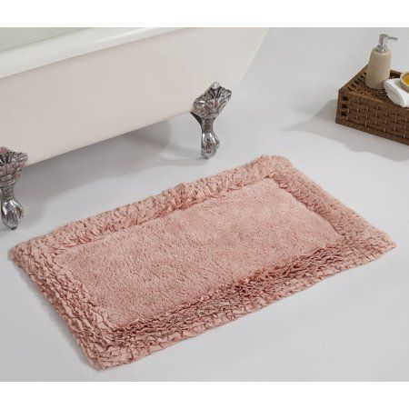Better Trends Shaggy Border Bath Rug 21 Inch X 34 Inch Pink Rugs