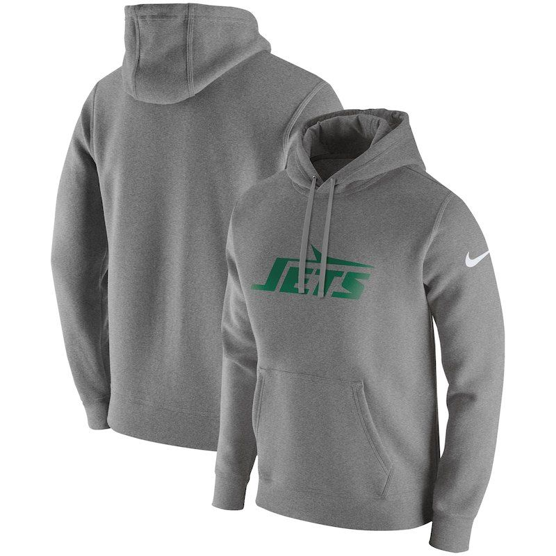 b6b8889f New York Jets Nike Fan Gear Club Throwback Pullover Hoodie – Heather ...
