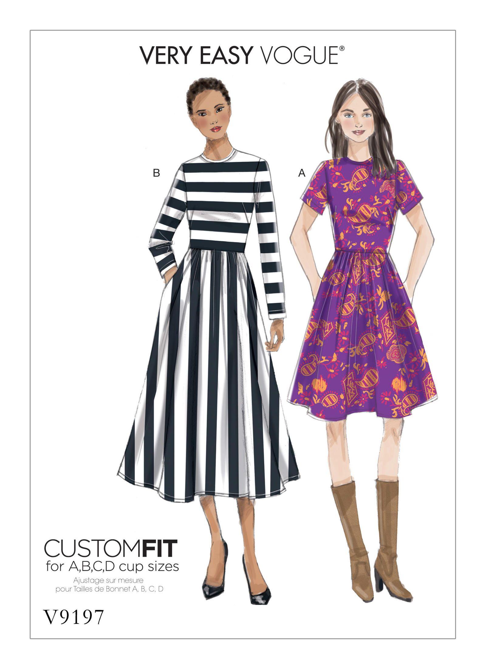 V9197 | Vogue Patterns | Blue Polka Dot Fabric | Pinterest | Sewing ...