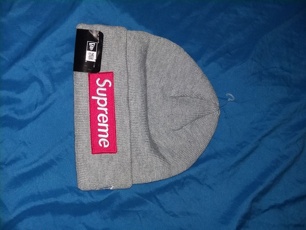 Supreme Gray And Red Box Logo Beanie fashion clothing