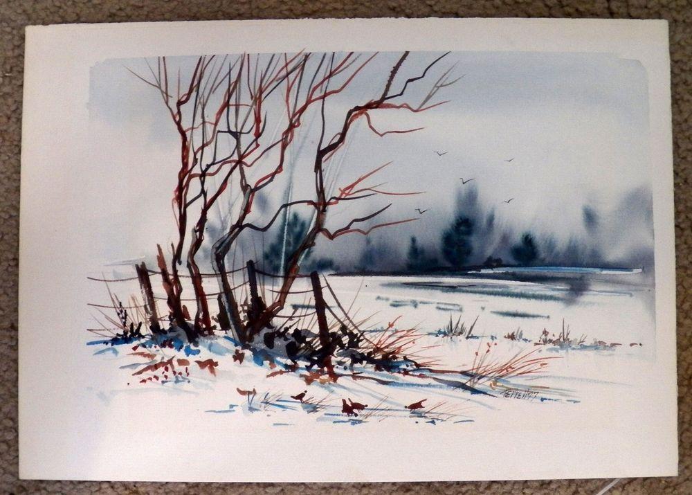 Trees in snow original watercolor by oklahoma artist