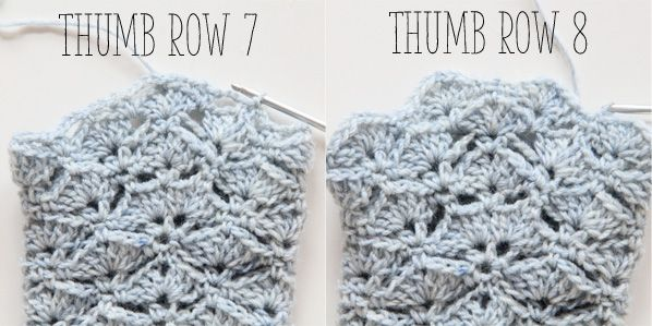 thumb fingerless glove row 7-8 | Horgolasok | Pinterest | Guantes ...