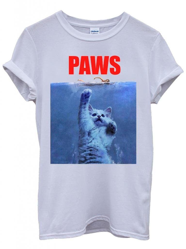 c60d851b2 Paws Cat Kitten Meow Parody Cool Funny Hipster Swag White Men Women Unisex  Top T-Shirt -Medium