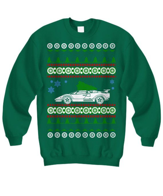 Lamborghini Countach Ugly Christmas Sweater Holiday Shirt Miami Vice