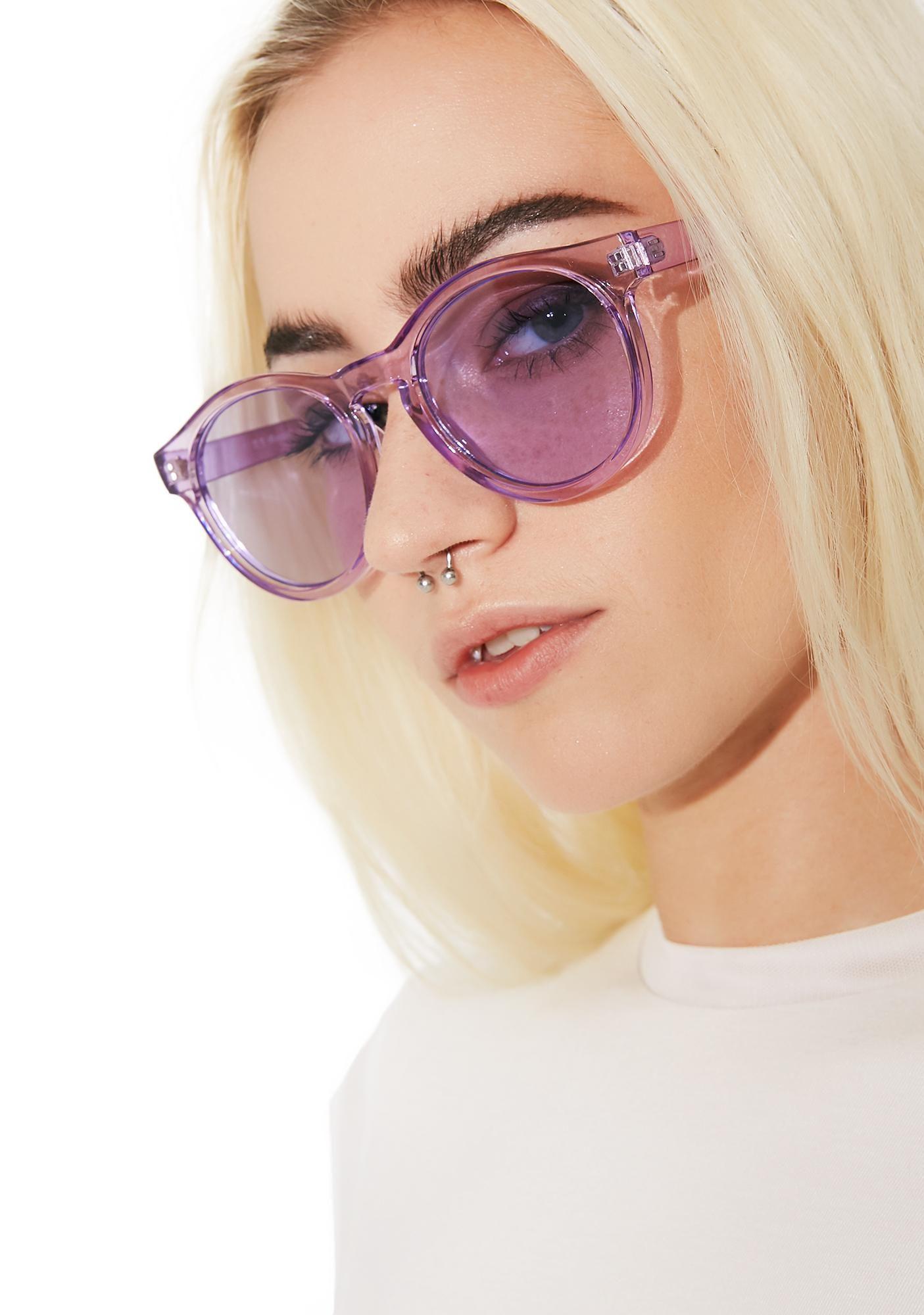 Violet Pardon Me Sunglasses Sunglasses, Clear round