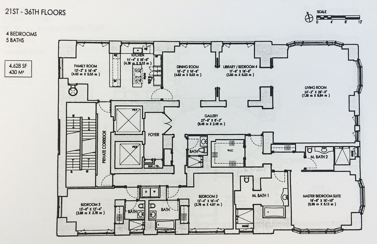 520 park avenue penthouse triplex floor plan 21st 36th for Triplex floor plans