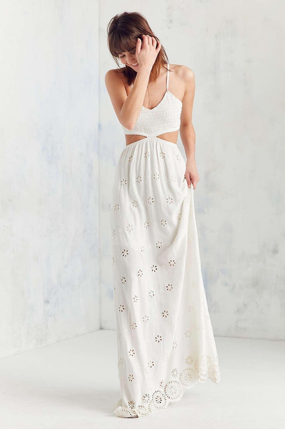 Winston White Eyelet Cutout Maxi Dress - Urban Outfitters  Cutout