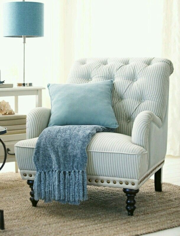 Charmant Chas Gray Blue U0026 White Seersucker Armchair