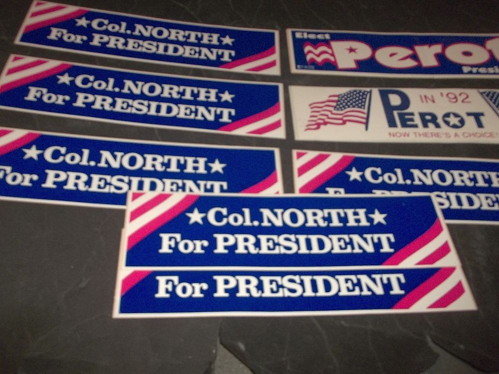 Lot 8 vintage political bumper stickers ross perot oliver north for president