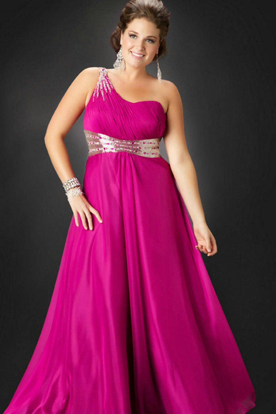 Elegant One Shoulder Chiffon Long Plus Size Formal Dresses | curvas ...