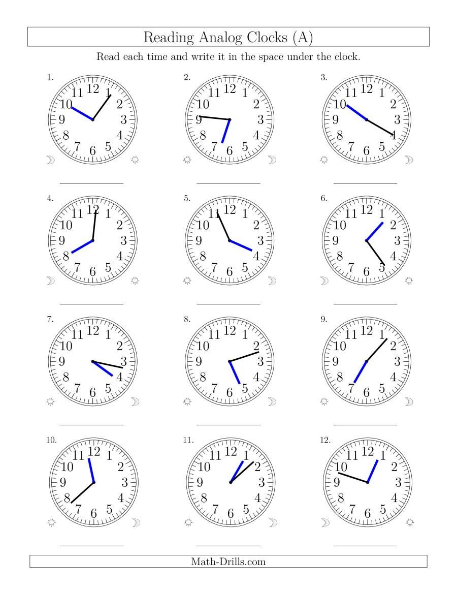 The Reading Time On 12 Hour Analog Clocks In 1 Minute Intervals A Math Worksheet In 2020 Clock Worksheets Time Worksheets Analog Clock