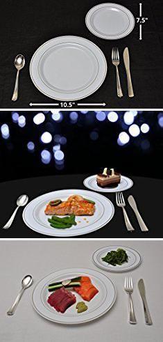 Fineline Plastic Plates. 25 Heavyweight Elegant Plastic Disposable Place Settings 25 Dinner Plates 25 Salad or Dessert Plates u0026 25 Polished Silver Plastic ... & Fineline Plastic Plates. 25 Heavyweight Elegant Plastic Disposable ...