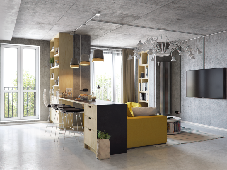 Kitchen And Living Room Design Ideas Mesmerizing This Modern Living Room And Kitchen Combo Has Industrial Flavor Design Decoration