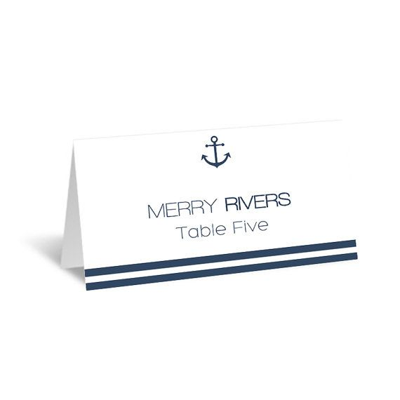 nautical wedding place card template foldover by graphicartdesign