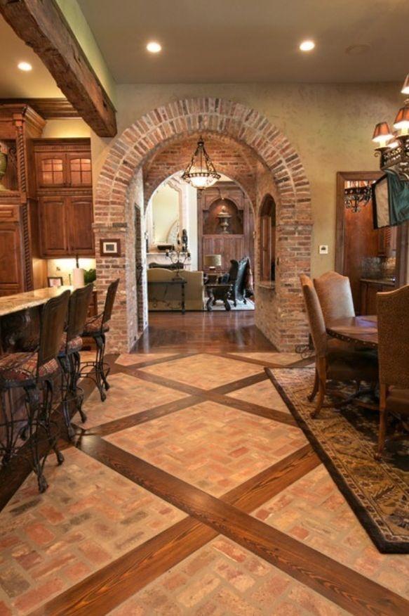 Brick arches and cabinet color casas baldosas de for Archi per interni appartamenti
