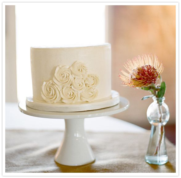 Simple + Cute White Rosette Wedding Cake