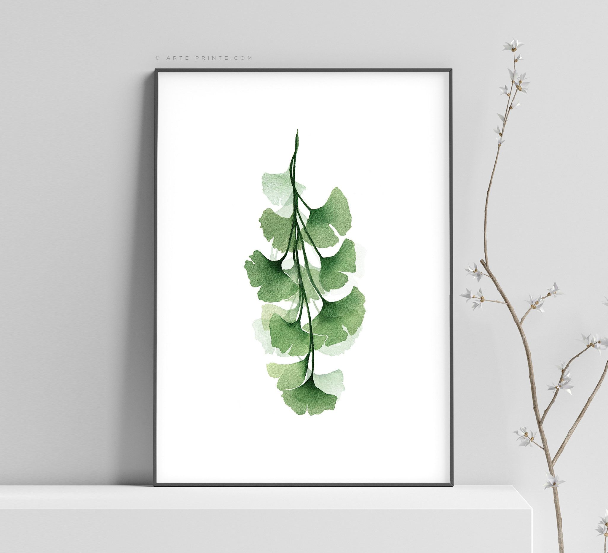 Modern Botanical Wall Art Watercolor Print Green Painting Ginkgo Biloba Leaves With Branch Plant Illustration Botanical Kitchen Wall Decor Botanical Wall Art Plant Illustration Framed Botanical Prints