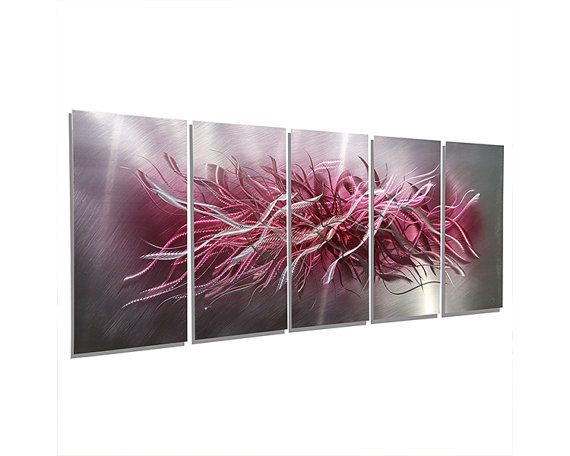Large Modern Metal Wall Art Silver Black Painting Hanging Abstract Jon Allen