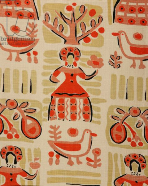 Textile design, c.1960 (tempera on paper)