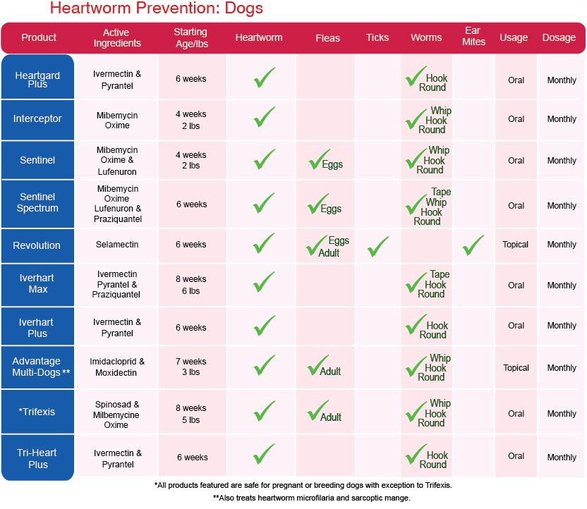 Heartworm Prevention Information A Comparison Chart Of