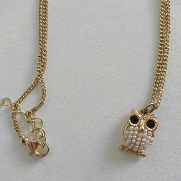 Owl and Elephant necklaces Gold owl with white pearls, silver elephant with rhinestones Forever 21 Jewelry Necklaces