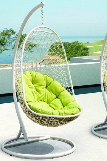 Encounter Rattan Outdoor Wicker Patio Swing Chair Suspension Series    White/Green By California Modern