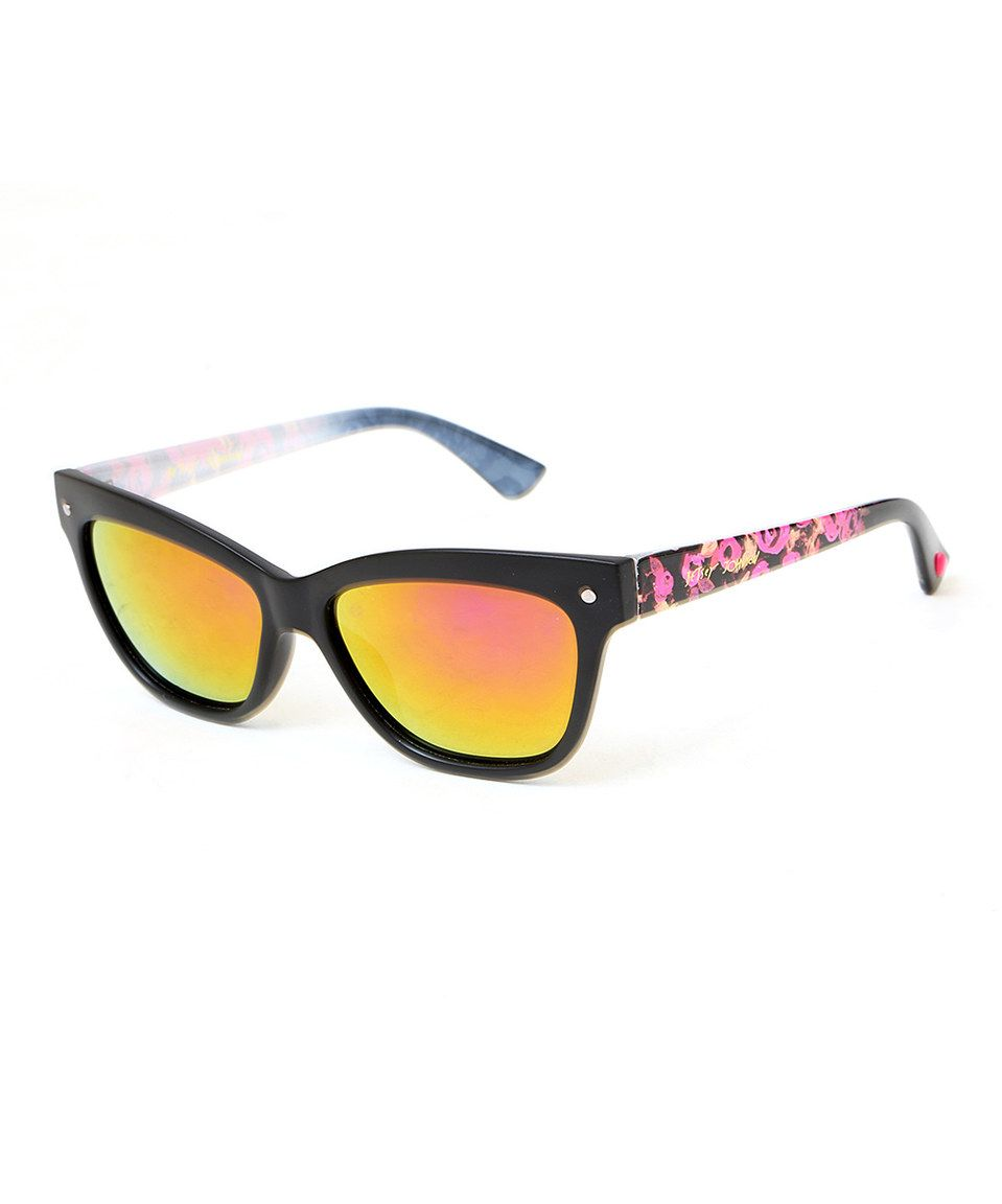 Look at this #zulilyfind! Black Floral Square Sunglasses by Betsey ...