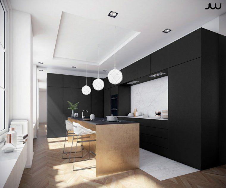 Mod le de cuisine noire 35 espaces design magnifiques for Modele de cuisine blanc et noir