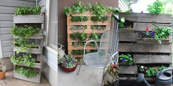 jardin vertical fabriqu en palette balcon pinterest jardins jardins verticaux et potager. Black Bedroom Furniture Sets. Home Design Ideas
