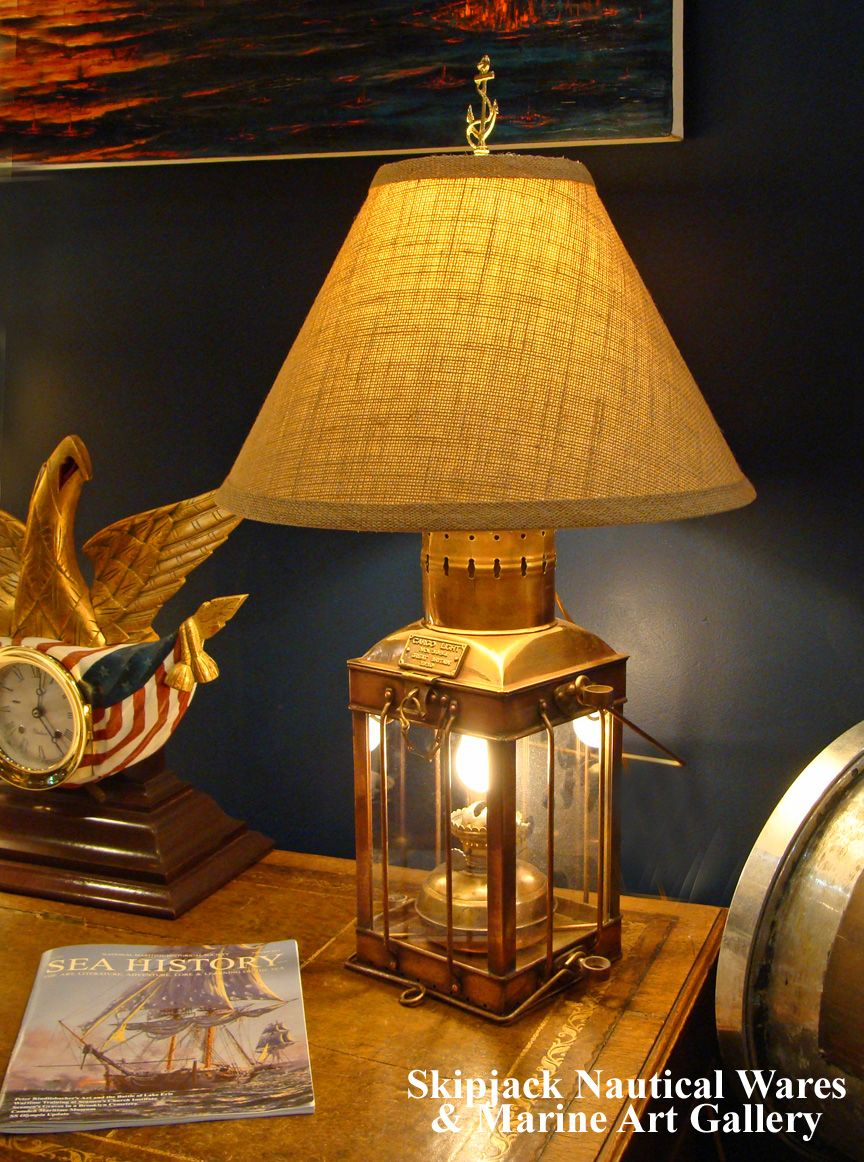 Beautiful Nautical Brass Cargo Table Lamp From Skipjack Http Www Skipjackmarinegallery Com Table Lamps Html Nautical Nautical Lamps Lamp White Lamp Shade