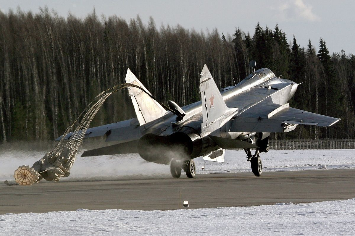 MiG-31 Foxhound Ejecting Parachute During Landing ...
