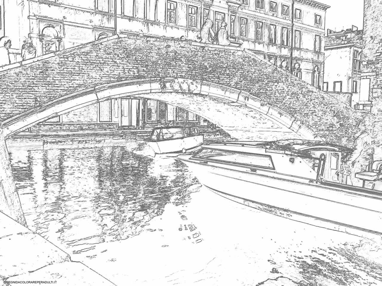 Disegni Da Colorare Di Venezia Con Disegni Di Paesaggi In Bianco E