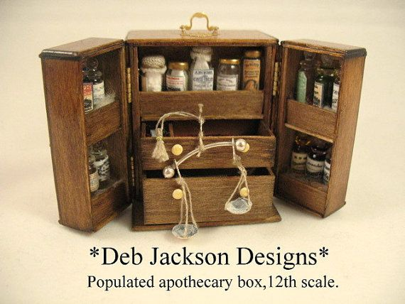 12th scale apothecary boxpopulated.For by DebJacksonDesigns